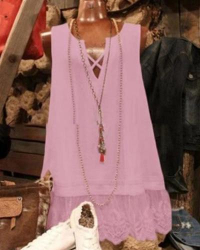 Summer Lace Paneled V Neck Sweet Tanks Tops