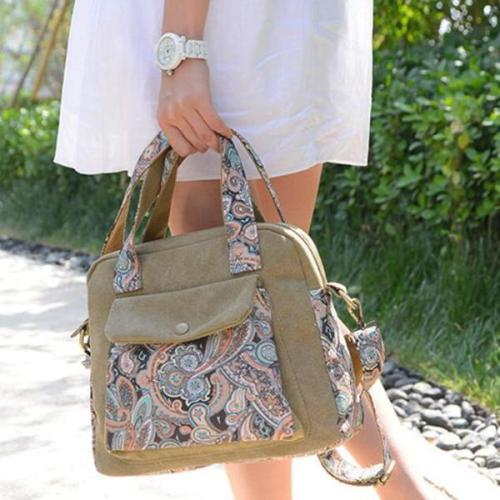 Vintage Floral Print Canvas Handbags Retro Crossbody Bag