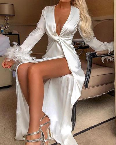 Neck Sexy Long Sleeve Maxi Dresses