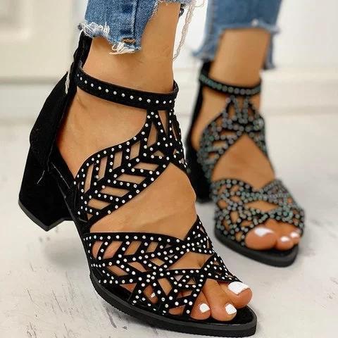 Women Elegant Hollow Out Peep Toe Heel Sandals