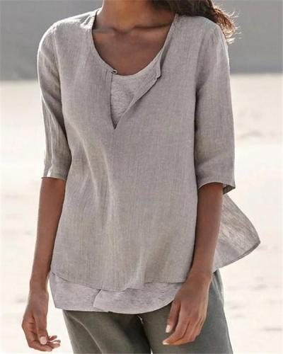 Women Clothing Half Sleeve V Neck Casual Solid Shirts