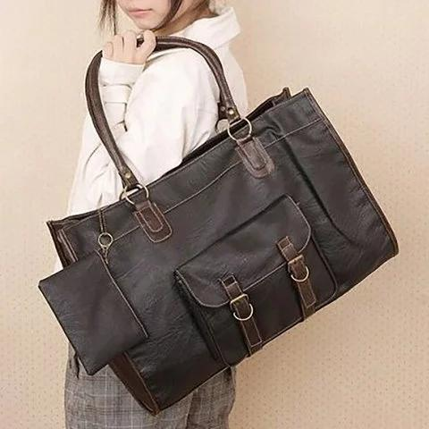 Vintage Women PU Leather Large Bags Shoulder Handbag Travel Tote Bags