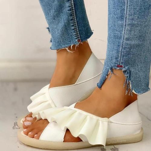 Women Ruffles Cross-strap Comfy Flat Sandals