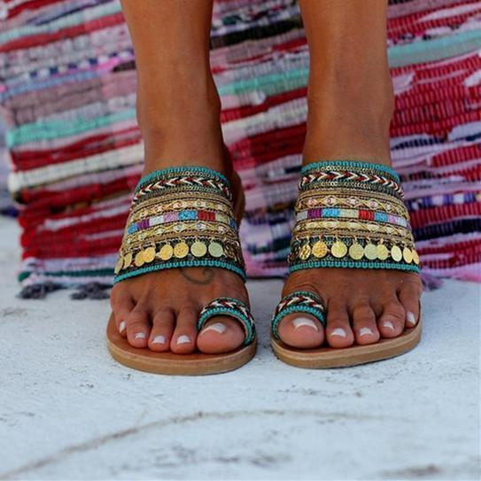 Handmade Women Sandals Tassel Flat Holiday Sandals with Beading