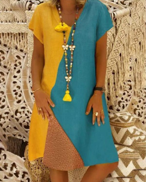 Women V-Neck Daily Vintage Color-Block Summer Dresses