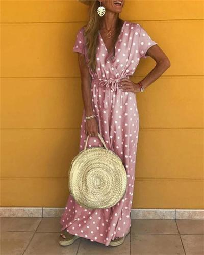 Polka Dots Bohemian Holiday Dresses Shift Daytime Maxi Dresses
