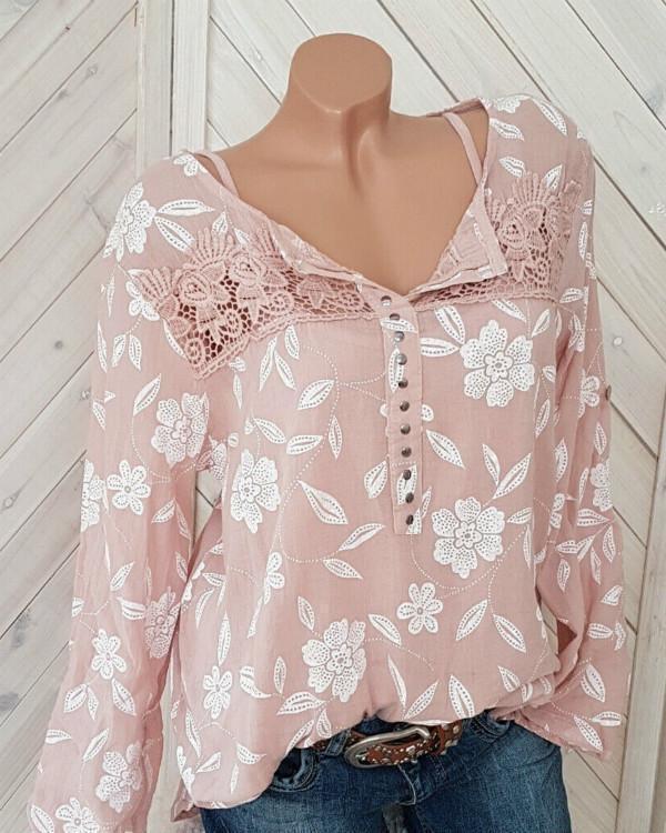 Crochet Lace Patchwork Floral Casual Blouse For Women