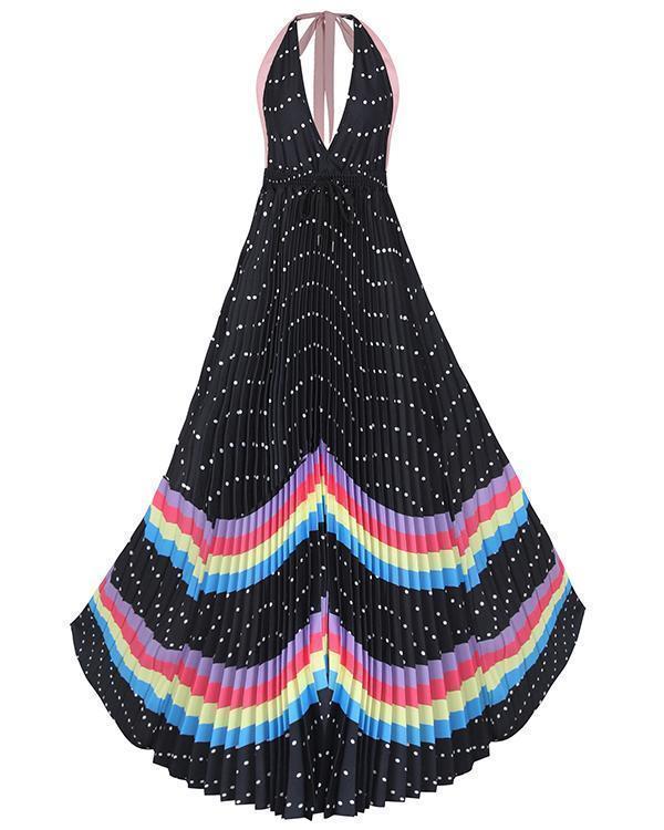 Simple Sleeveless Lace Halter Rainbow Print Pleated Dress