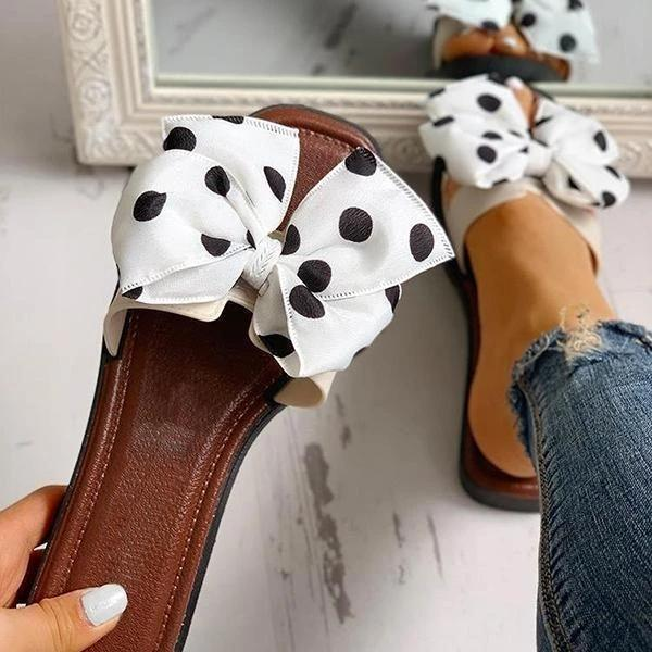 Block Heel Flip Flop Slip-On Bow Casual Casual Slippers