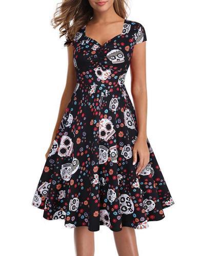Skull Print Gothic Mini Dress