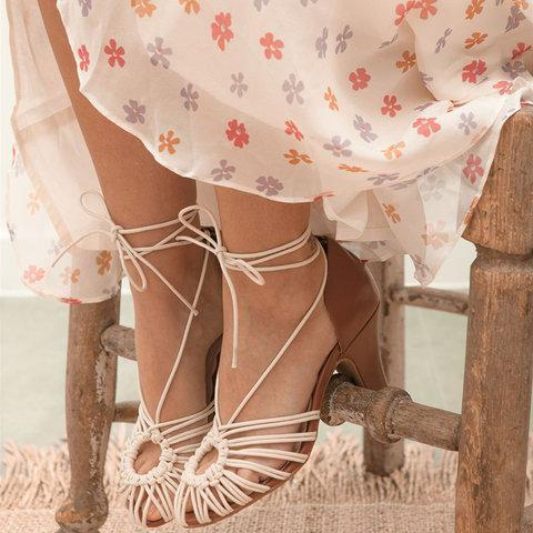 Sexy Spaghetti Strap Heel Lace-Up Closed Toe Sandals