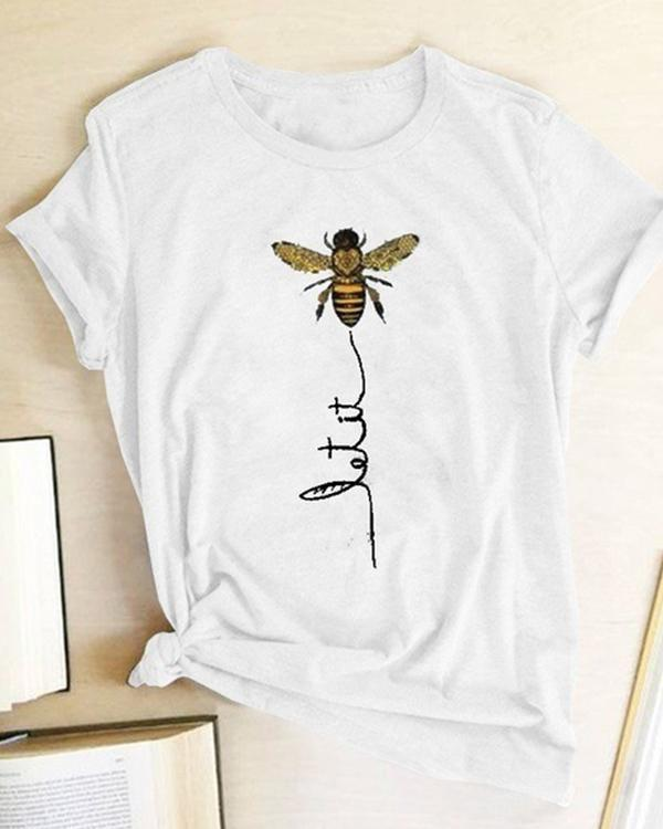 Women Bee Kind T-shirt Aesthetics Graphic Short Sleeve Cotton Polyester T Shirts