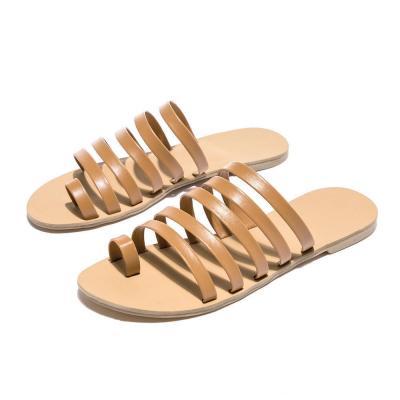 Peep Toe Beach Sandals Strappy Roman Slippers