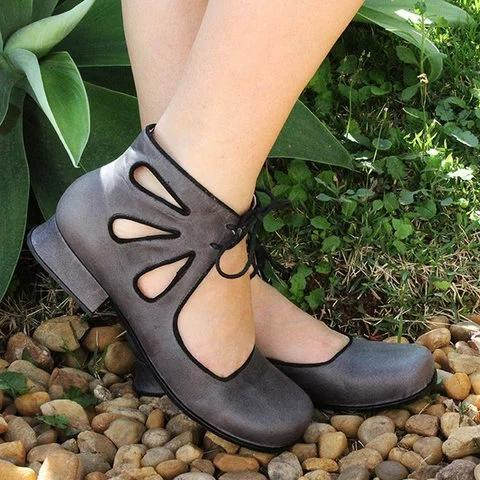 Women Hollow-out Lace-up Flat Closed Toe Sandals