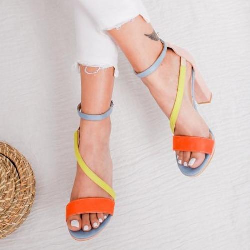 Women Summer PU Chunky Heels Sandals