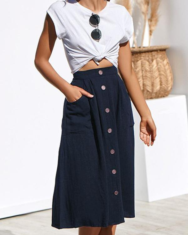 Women's Casual Solid Button Front High Waist A Line Midi Skirt