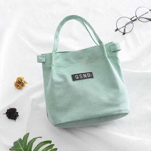 Lady Shoulder Bag Fashion Canvas Bucket Bento Bag Lunch Bag