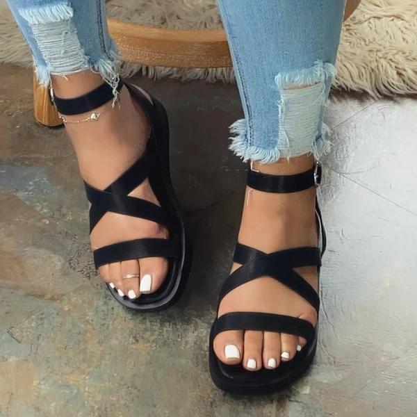 Flat With Open Toe Buckle Platform Plain Sandals
