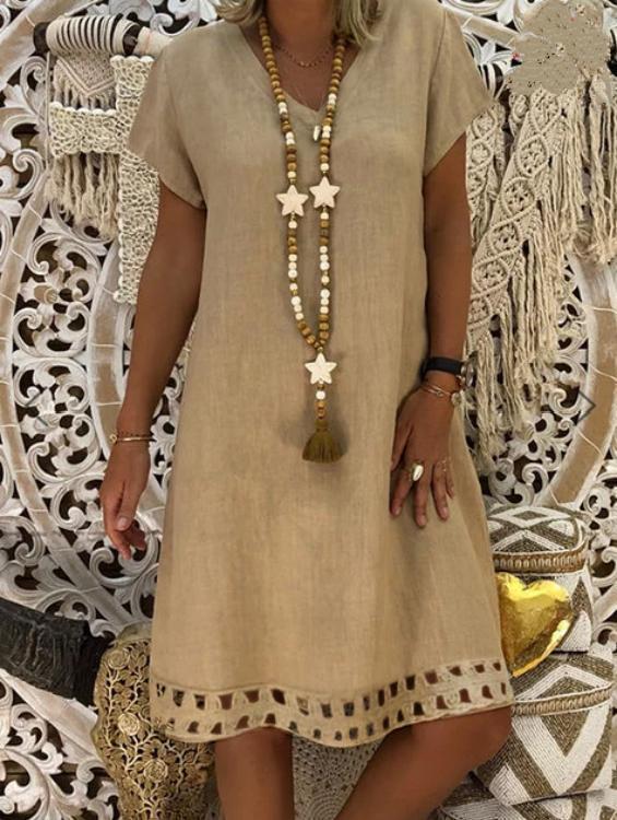 V Neck Women Summer Dresses A-Line Casual Dresses