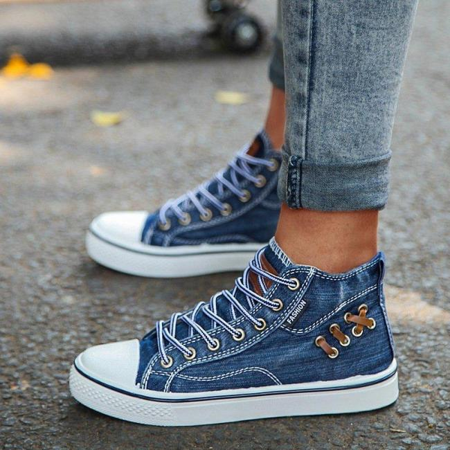 High Top Canvas Denim Shoes Sneakers