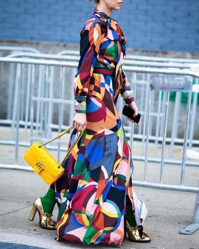 Tie-Neck Geometric Elegant Maxi Dress