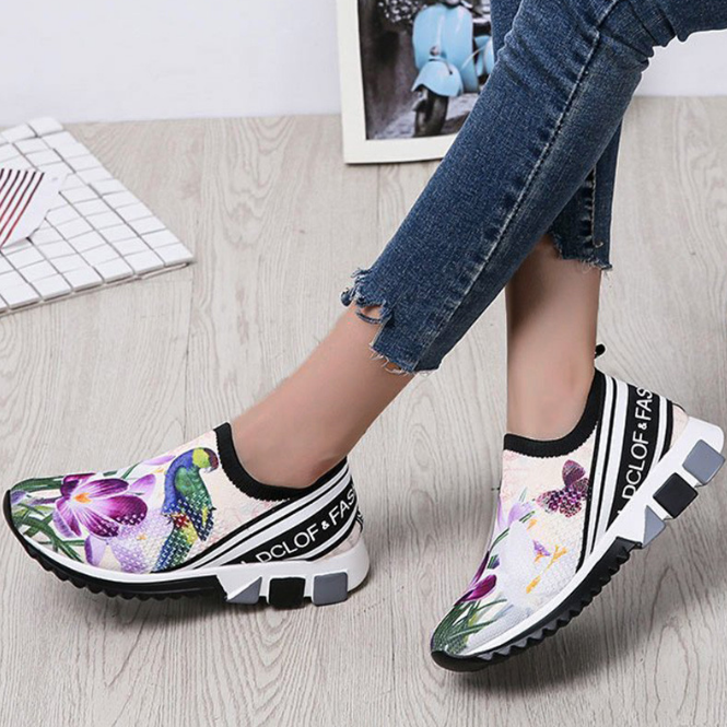 Women Thick Sole Platform Vulcanized Flower Chunky Sneakers