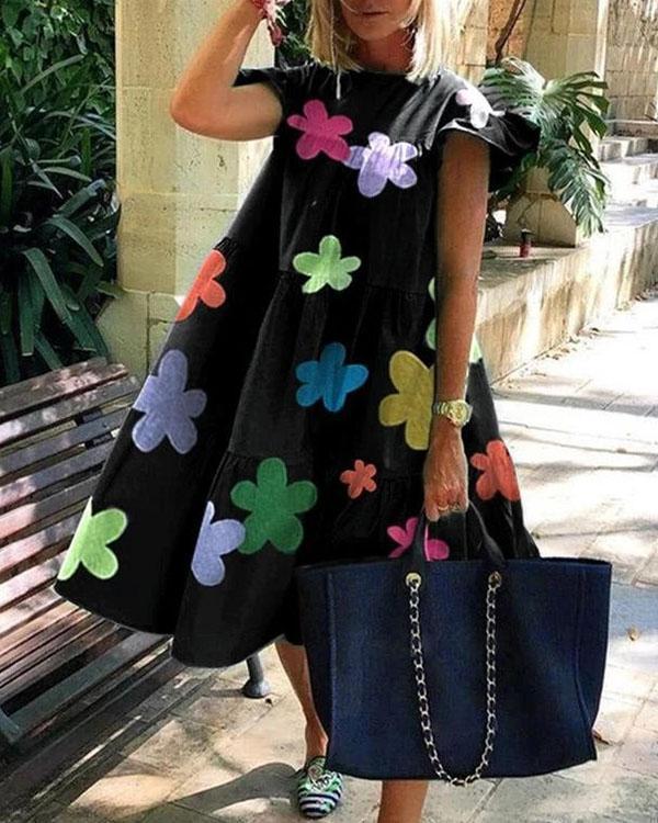Casual Loose Ruched Print Midi Dress