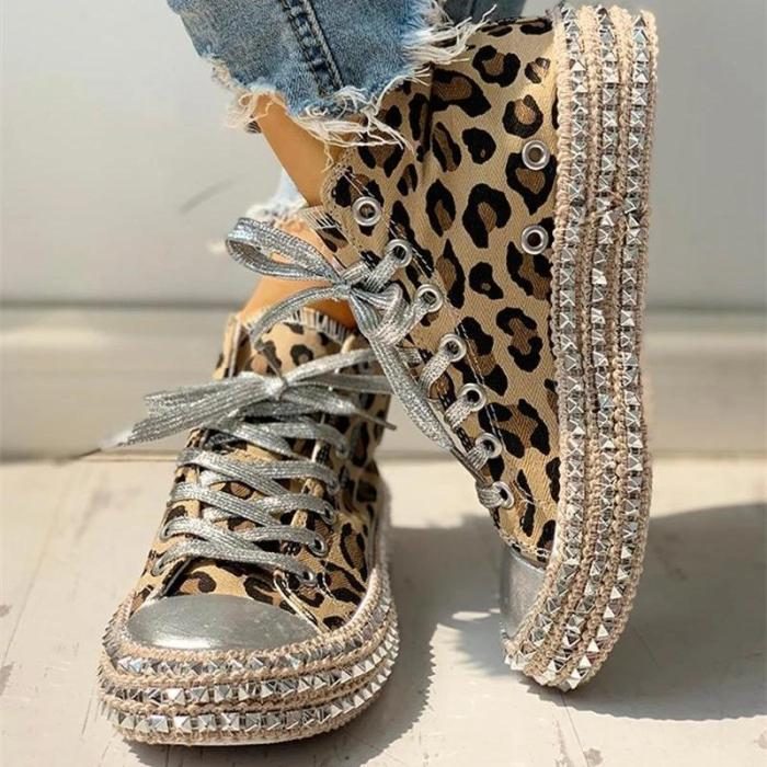 Women's Leopard Rivets with High Top Sneakers