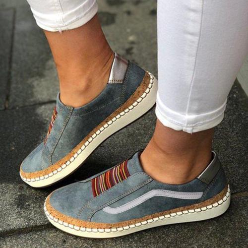 Slide Elastic Band Round Toe Casual Women Sneakers