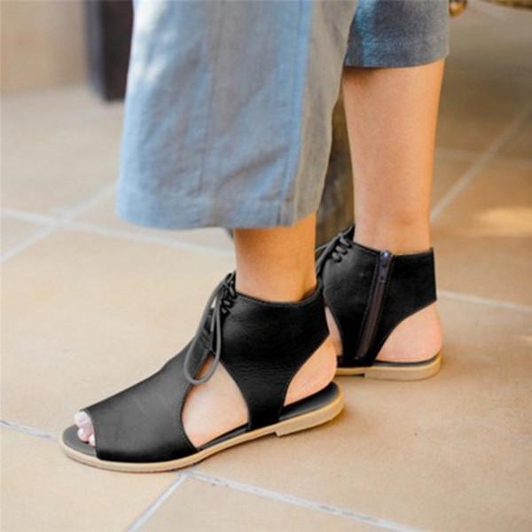 Women Side Zipper Lace Up Stylish Sandals