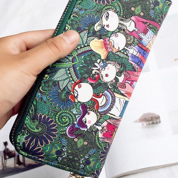Bohemian Long Wallet Multi-Function Phone Bag 4 Card Slot Purse