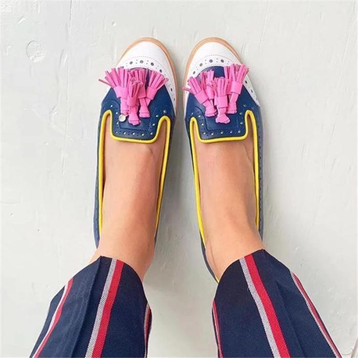 Women's Color Stitching Tassel Flat Sandals