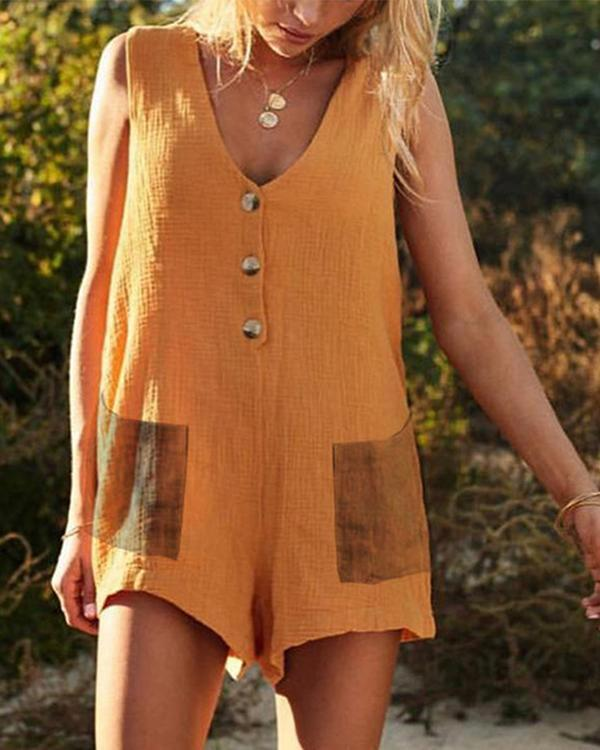 Buttoned V-neck Sleeveless Paneled Casual Solid Romper