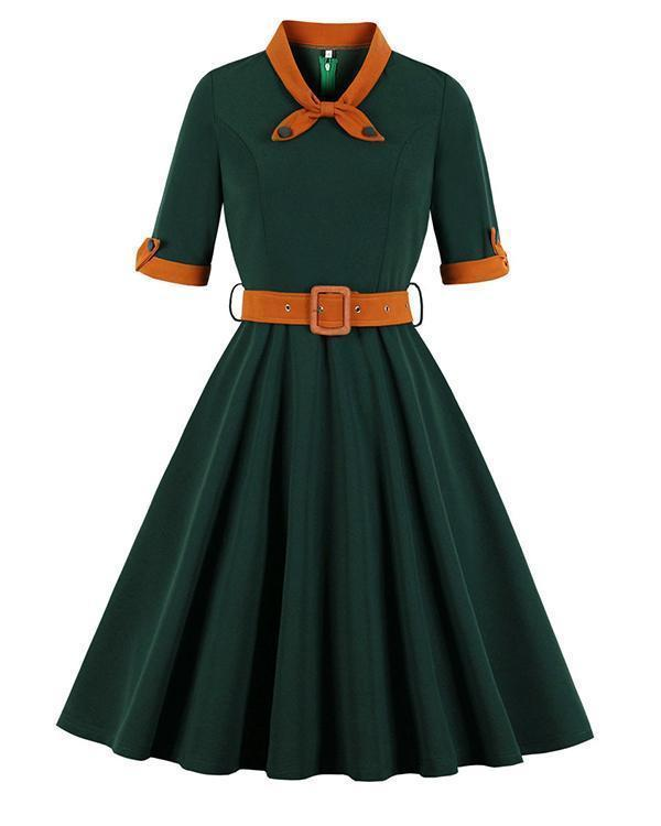 Retro O-neck Half Sleeve Swing Midi Dress With Belt