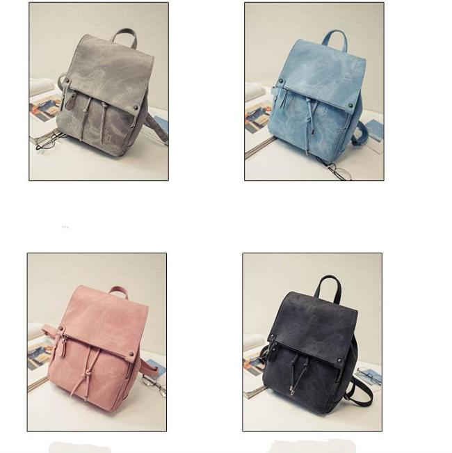 2020 New And Popular Woman Solid Color PU School Bag Backpack