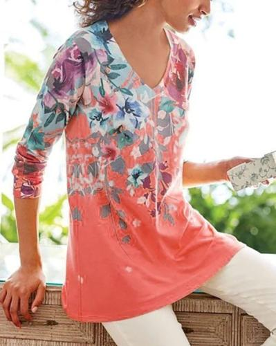 Floral Print V-neck Casual Long Sleeves T-shirts Tops