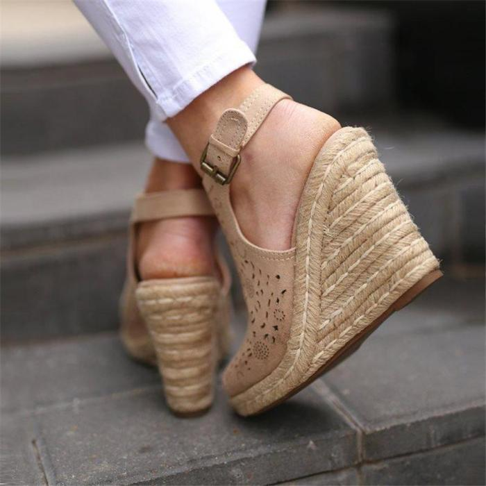 Vintage openwork carved wedge sandals