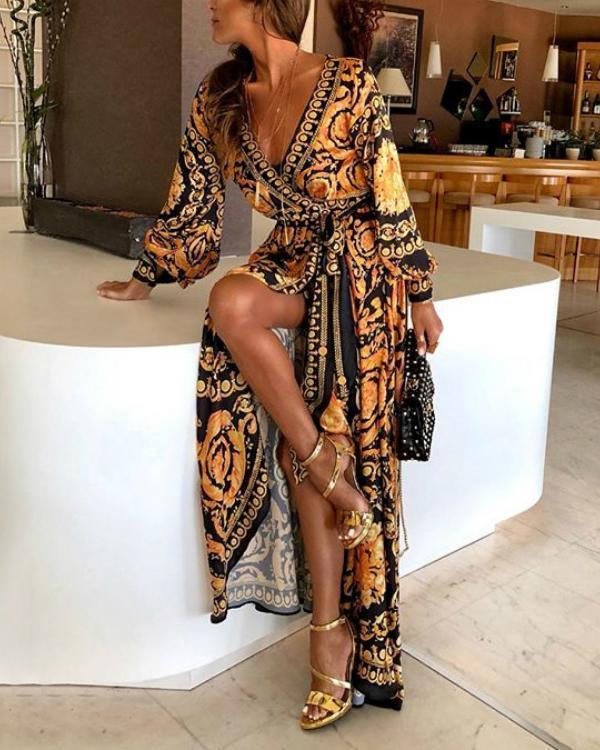 Early Spring Long Sleeve V-Neck Print Maxi Dress