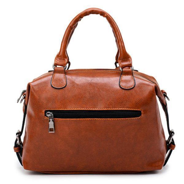 Vintage PU Leather Boston Handbag Shoulder Bag