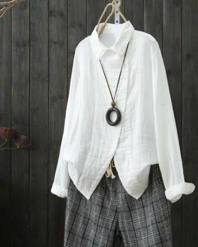 Linen Shirt Collar Asymmetric Long Sleeve Blouses