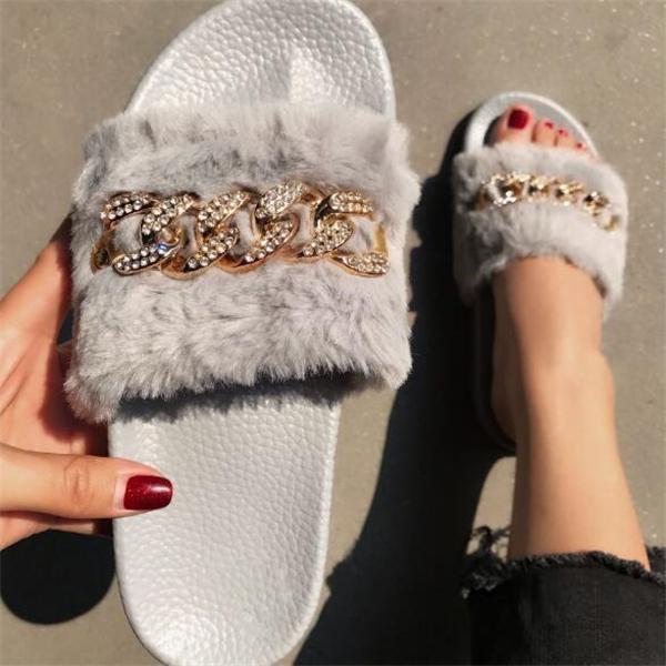 Fur Rhinestone Slip-On Flat With Summer Slippers