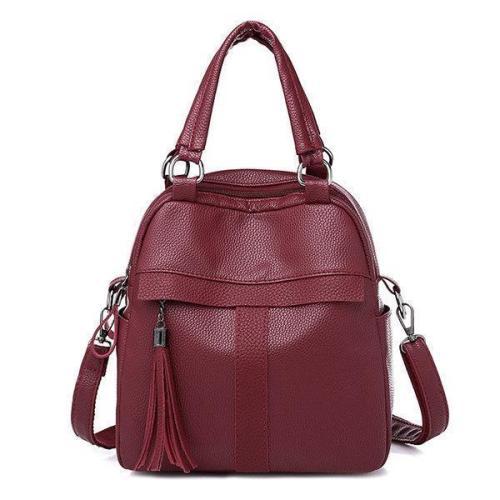 Soft Leather Handbag Travel Backpack