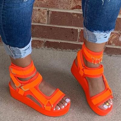 Velcro Open Toe Platform Thread Mid-Cut Upper Sandals
