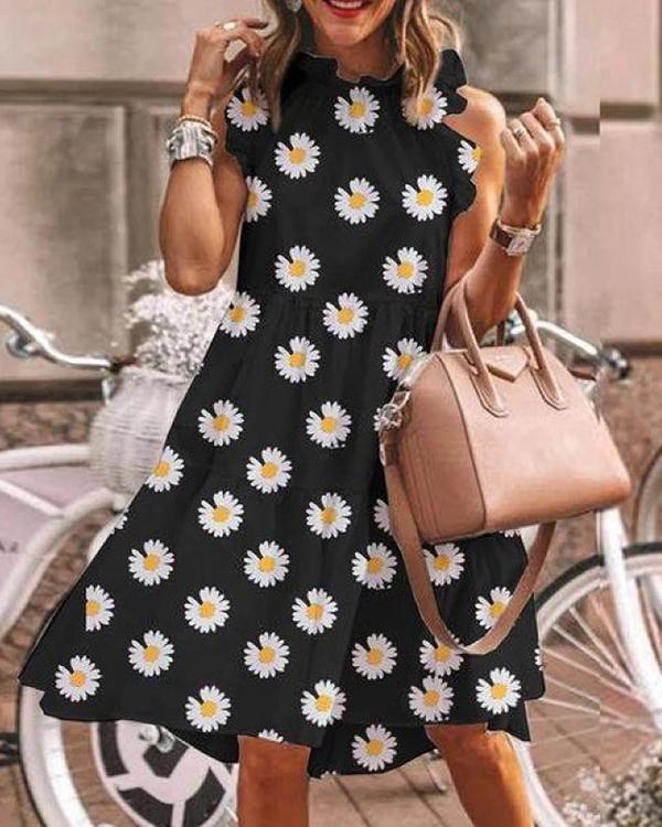 Floral-Print Lotus Leaf Sleeve Midi Dress