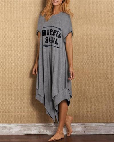 Cotton-Blend Letter Printed Short Sleeve Irregular Dresses