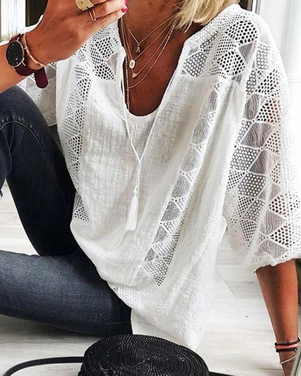 Casual Hollow Out Solid T-shirt