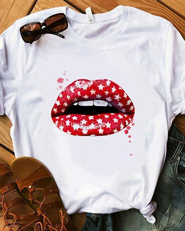 Hot Sale Summer Trend Style Cute Print Tops Vintage Shirt