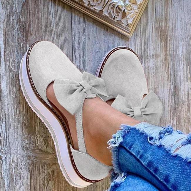 Women's Cute Bow Decoration Muffin Metal Buckle Sandals