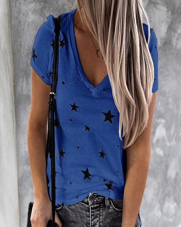 V-neck Star Short Sleeve T Shirt Blouse