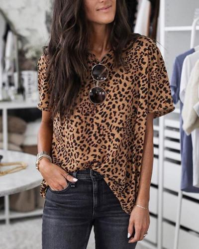 Leopard Print Loose Design Brown T-shirt